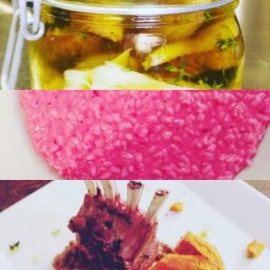 Funghi porcini,risotto barbabietola,agnello zucca e lenticchie